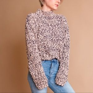 Vintage 80s pink nubby knit boucle mock sweater